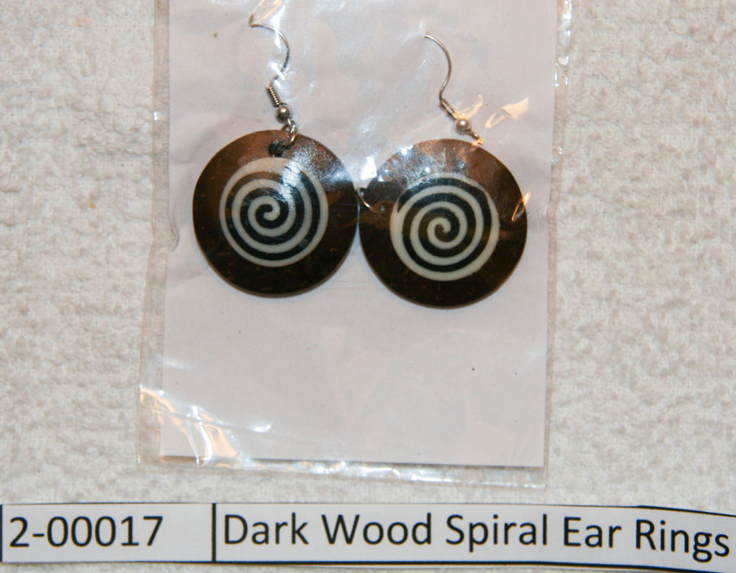 Dark Wood Spiral Ear Rings