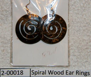 Spiral Wood Ear Rings