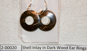 Shell Inlay in Dark Wood Ear Rings