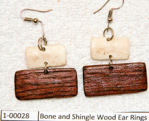 Bone and Shingle Wood Ear Rings