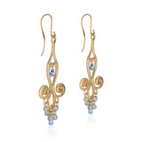 18k Yellow Gold Chandelier Earrings with Blue Sapphire Teardrops and Canary Diamonds
