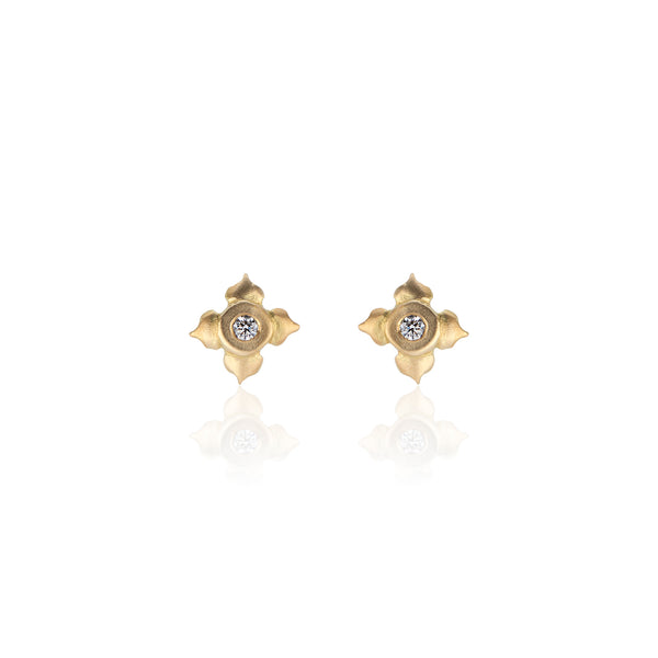 18k Yellow Gold Stud Earrings with Diamonds in Lotus Flower Motif