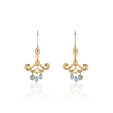 18k Yellow Gold Drop Earrings with Blue Sapphire Teardrops and Canary Diamonds