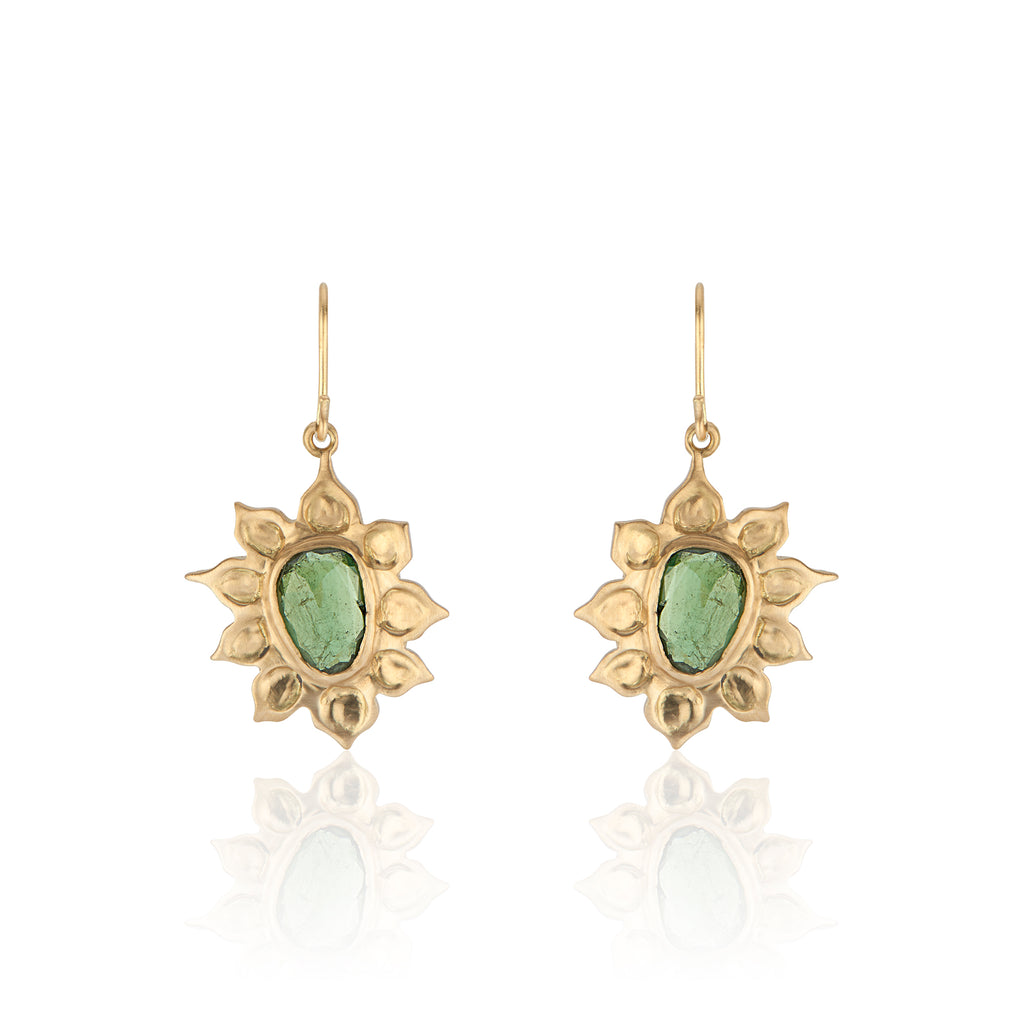18K Yellow Gold Organic-Shape Rosecut Tourmaline Earrings