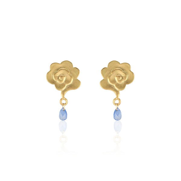 18K Yellow Gold Rain Cloud Stud Earrings with Blue Sapphire Raindrops