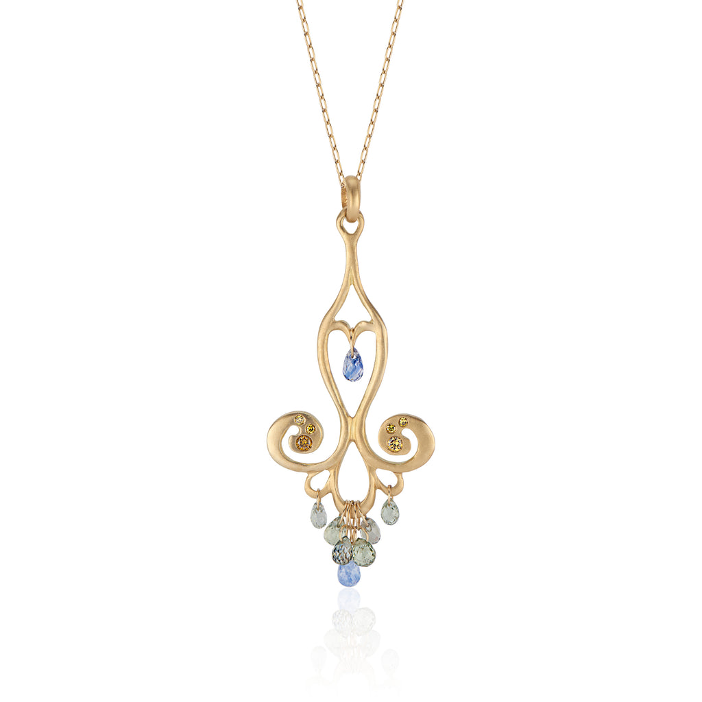 18k Yellow Gold Chandelier Necklace with Blue Sapphire Teardrops and Canary Diamonds
