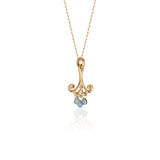 18k Yellow Gold Pendant Necklace with Blue Sapphire Teardrops and Canary Diamonds