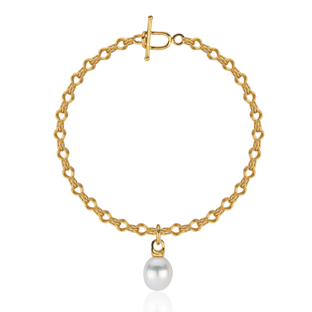 22k Gold South Sea Pearl Bracelet with Ancient-Style Hand-Wrought Chain