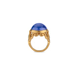 22k Gold Medieval Style Ring with Large Tanzanite Cabochon and Emeralds