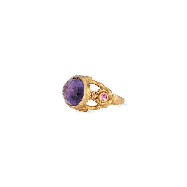 22k Gold Rose Cut Amethyst and Fuchsia-Sapphire Cocktail Ring