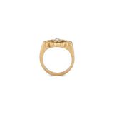 18k Yellow Gold Rose Cut Salt & Pepper Diamond Ring