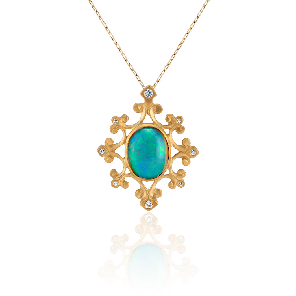 Ethiopian Opal and Diamond Medallion Necklace in 22k Gold