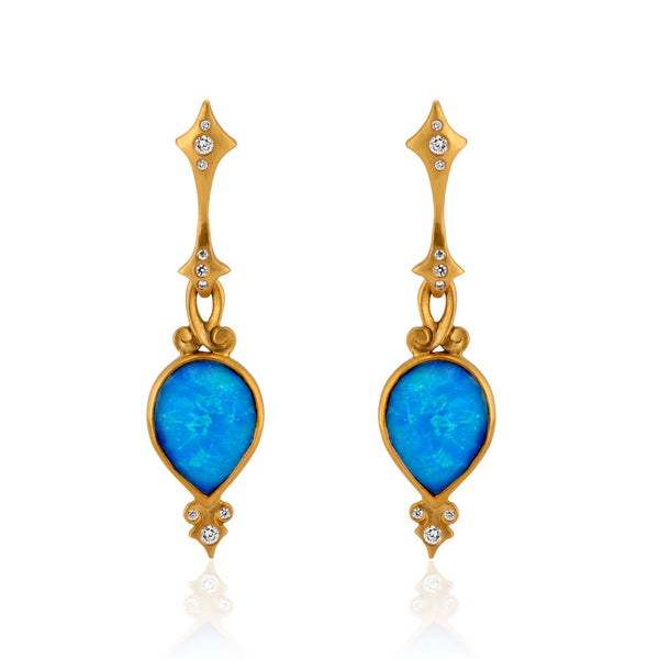 Rose Cut Tear Drop Ethiopian Opal and Diamond Earrings in 22k Gold