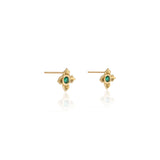 Emerald Stud Earrings set with Lotus Motif in 18k Yellow Gold