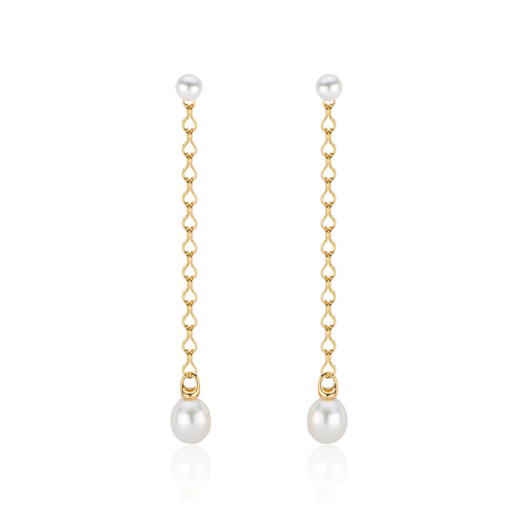 South Sea Pearl Shoulder Duster Earring with 22k Gold Chain