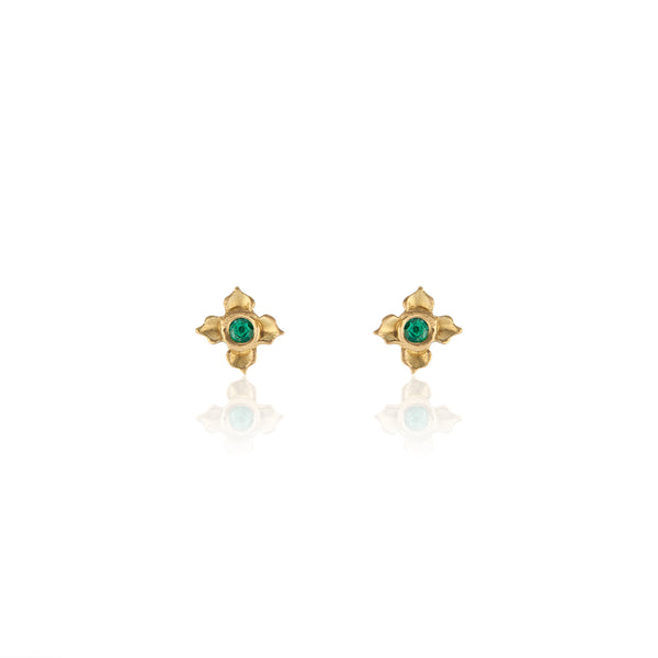 18k Yellow Gold Stud Earrings with Emerald in Lotus Motif