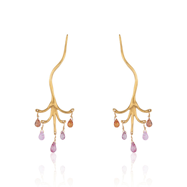 Sapphire Briolette Chandelier Branch Earrings 22k Yellow Gold