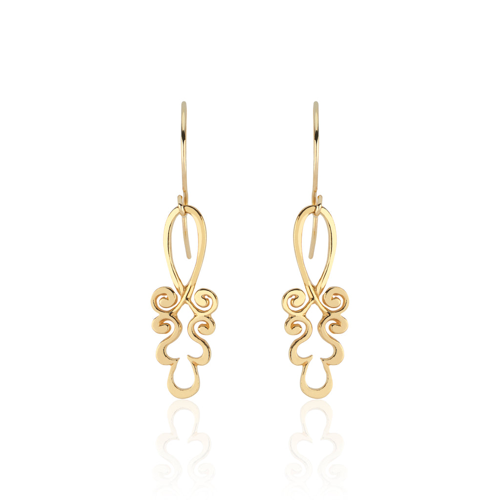 22k Gold Pendant Earrings in Ornamental Tendril Motif