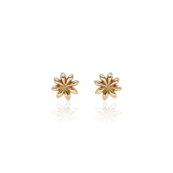 Flower Stud Earrings 22k Yellow Gold with Diamond Centers