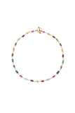 Tourmaline Bead Wire-Wrap Necklace 22k Yellow Gold