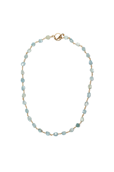 Aquamarine Wire-Wrap Necklace 22k Yellow Gold