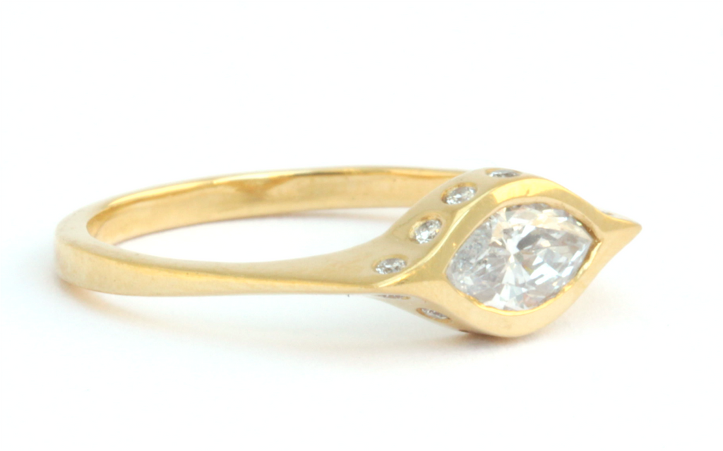 Marquis Diamond Ring 22k Yellow Gold