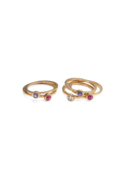 stackable rings 22k gold ruby diamond tanzanite