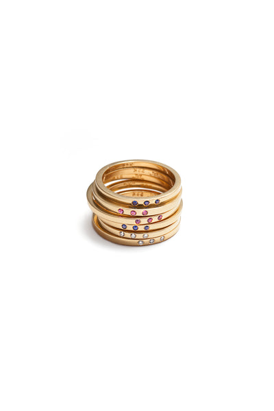 Stackable Band Rings with Three Stones