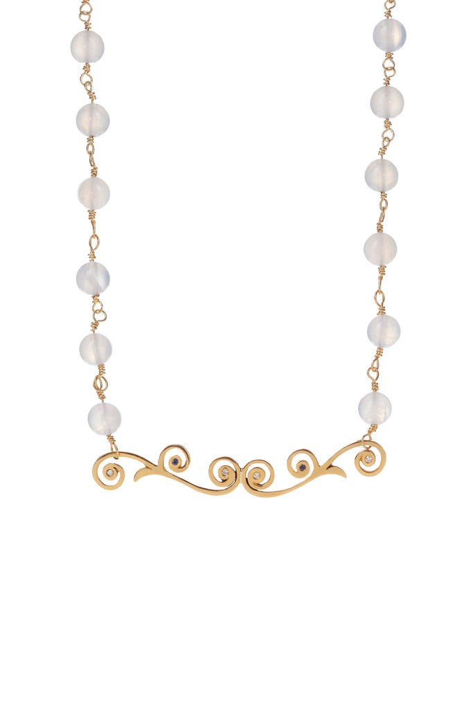 Chalcedony Bead Necklace with 22k Gold Tendril Pendant Accented with Diamond and Royal Blue Sapphire Melee