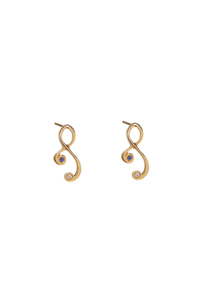 22k Gold Tiny Tendril Earrings with Diamond and Sapphire