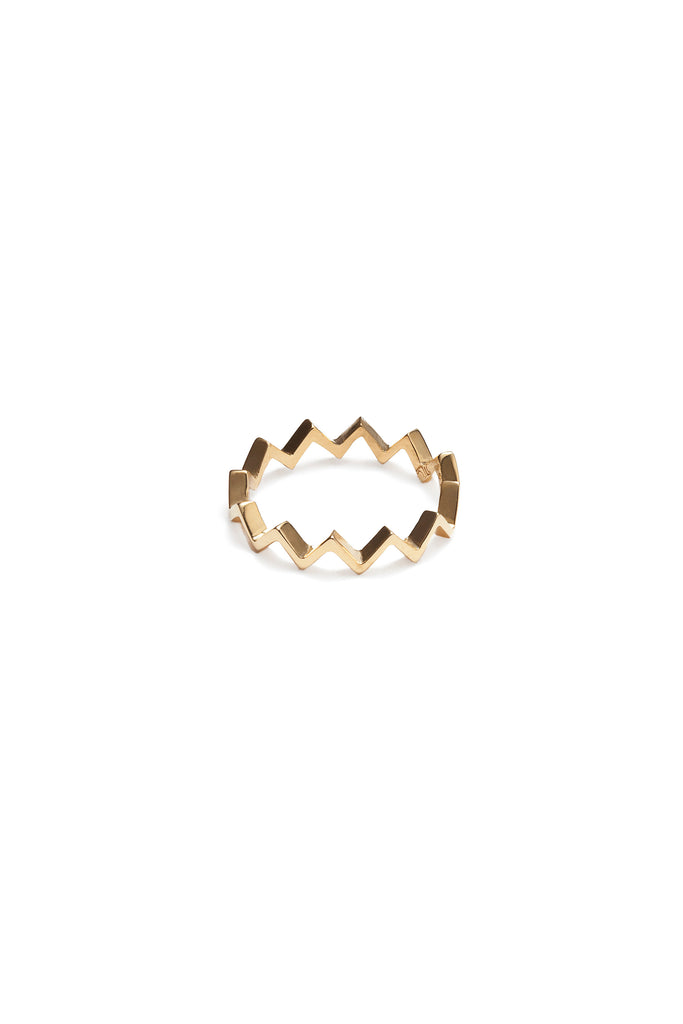 Stackable Zig Zag Gold Ring