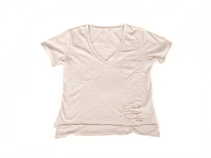 Distressed Pocket V-Neck - Taupe