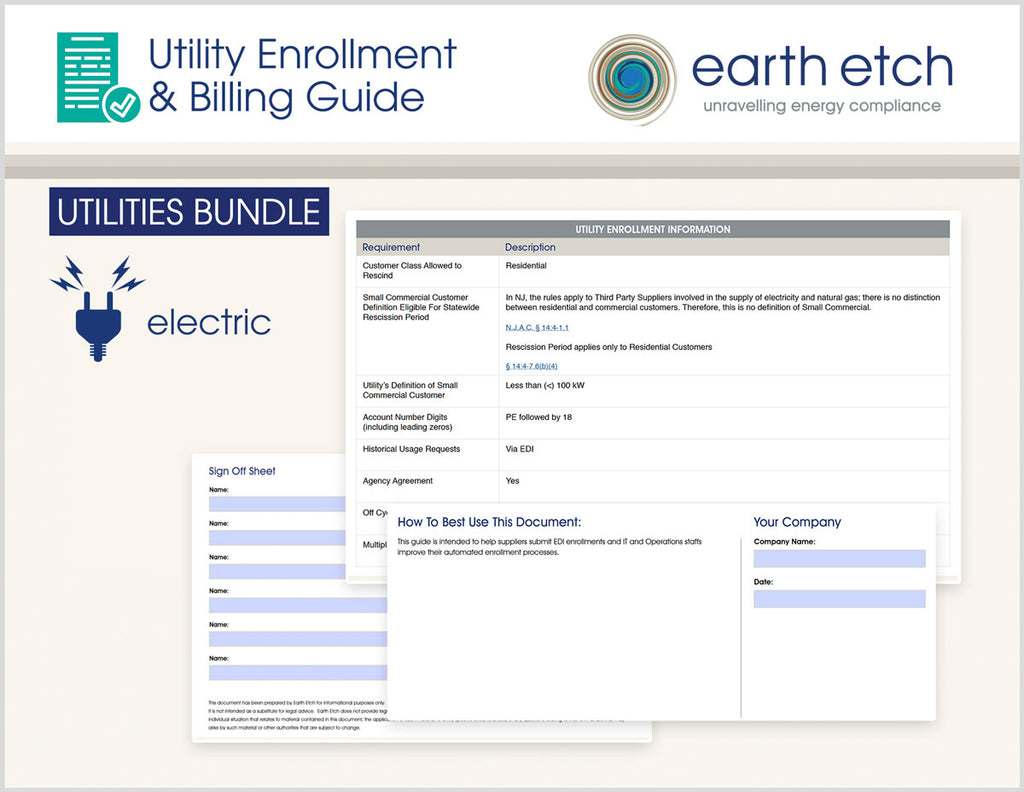 New Jersey Utility Enrollment & Billing Guide BUNDLE (Electric)