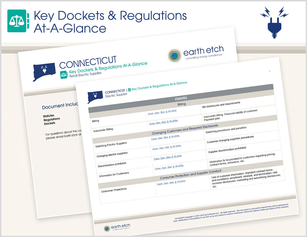 Connecticut Key Dockets & Regulations At-A-Glance (Electric)