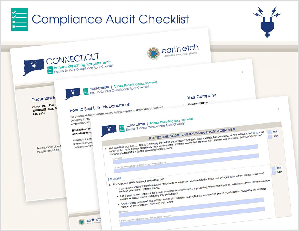 Connecticut Annual Reporting Requirements – §16-245y – Compliance Audit Checklist (Electric)