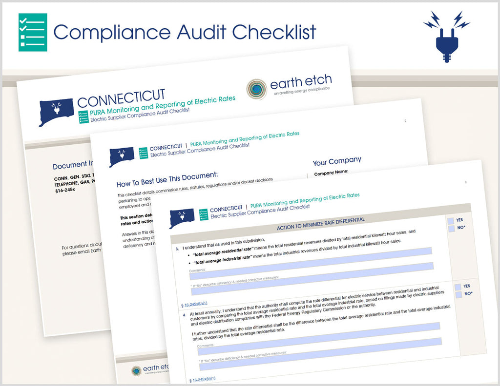 Connecticut PURA Monitoring and Reporting of Electric Rates – §16-245x – Compliance Audit Checklist (Electric)