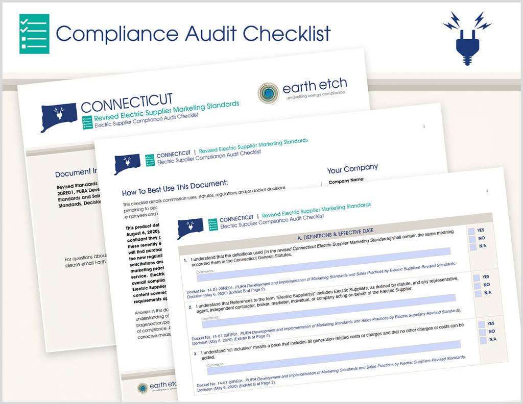 Connecticut Revised Electric Supplier Marketing Standards – Compliance Audit Checklist (Electric)