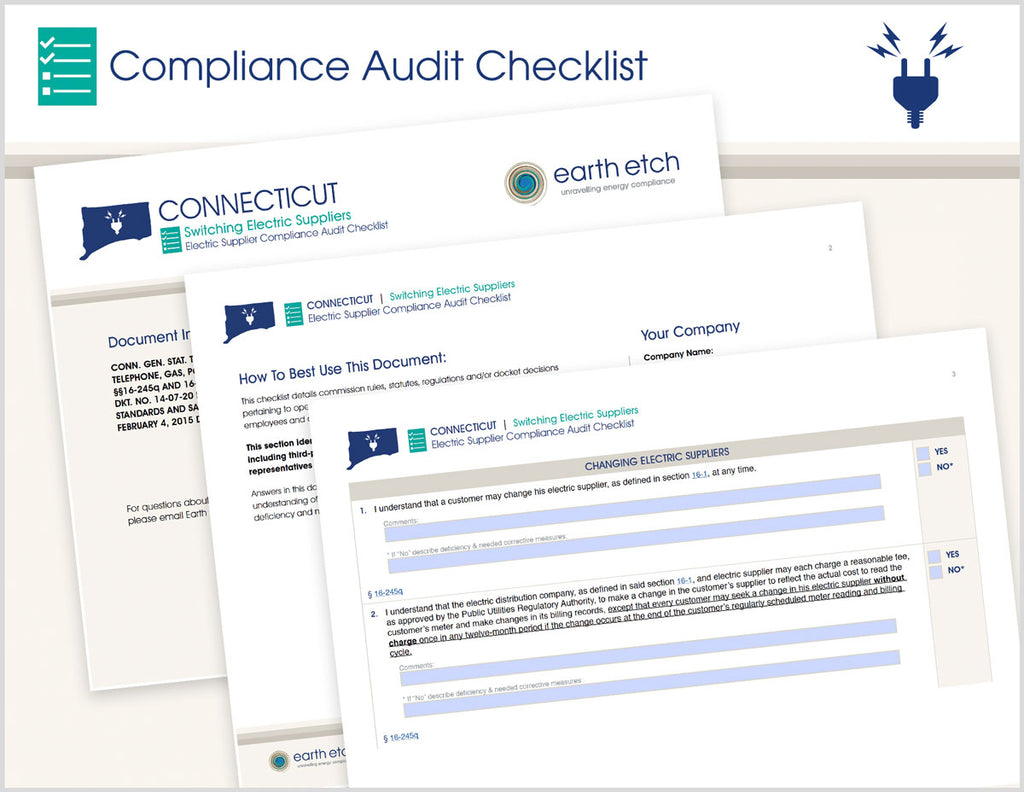 Connecticut Switching Electric Suppliers – §§16-245q & 16-245s – Compliance Audit Checklist (Electric)