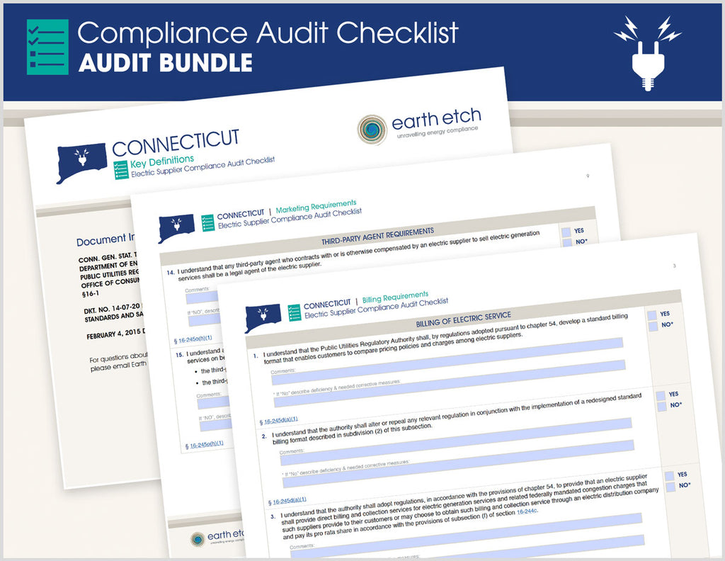 Connecticut Compliance Audit Checklist BUNDLE (Electric)