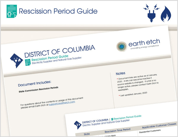 District of Columbia Rescission Period Guide (Electric & Gas)