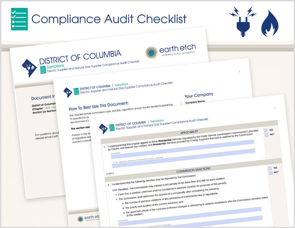 District of Columbia Sanctions – DCMR 15-3 - § 399.1 – Compliance Audit Checklist (Electric & Gas)