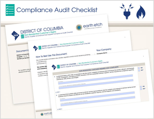 District of Columbia Non-Residential Customer's Rights – DCMR 15-18 - § 1800, 1801, 1802 & 1899 – Compliance Audit Checklist (Electric & Gas)