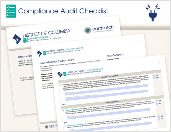 District of Columbia Net Energy Metering – DCMR 15-15-9, 15-29, 15-36 & 15-42 - §§  900 thru 909 & 999 – Compliance Audit Checklist (Electric)