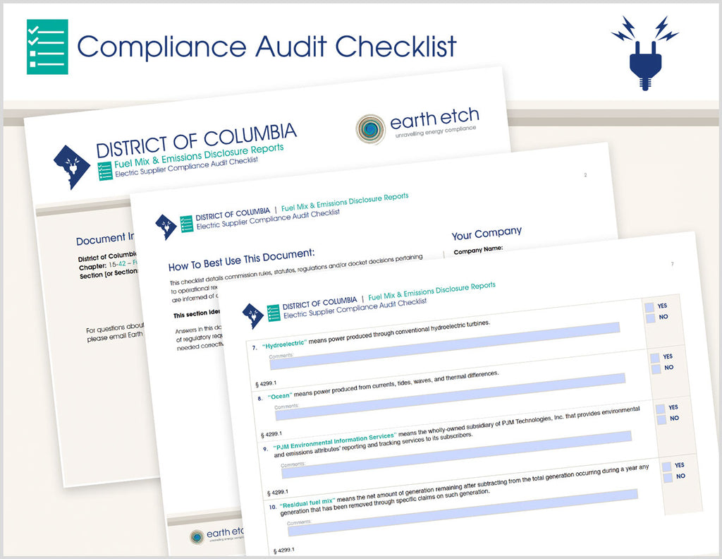 District of Columbia Fuel Mix and Emissions Disclosure Reports – DCMR 15-15-9, 15-29, 15-36 & 15-42 - §§ 4200, 4201 & 4299 – Compliance Audit Checklist (Electric)