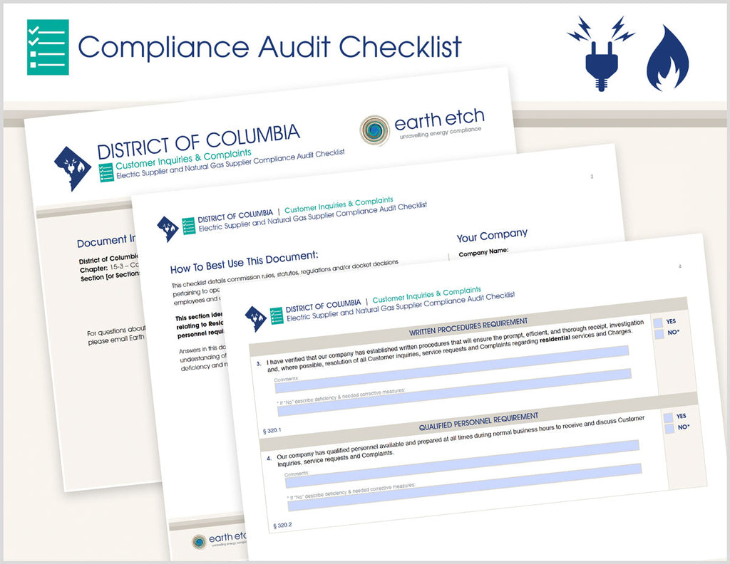 District of Columbia Customer Inquiries and Complaints – DCMR 15-3 - § 320 – Compliance Audit Checklist (Electric & Gas)