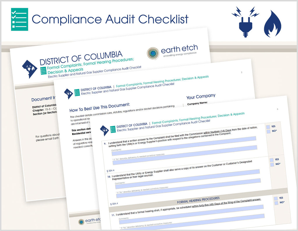 District of Columbia Formal Complaints; Formal Hearing Procedures; Decision and Appeals – DCMR 15-3 - §§ 324, 325 & 326 – Compliance Audit Checklist (Electric & Gas)