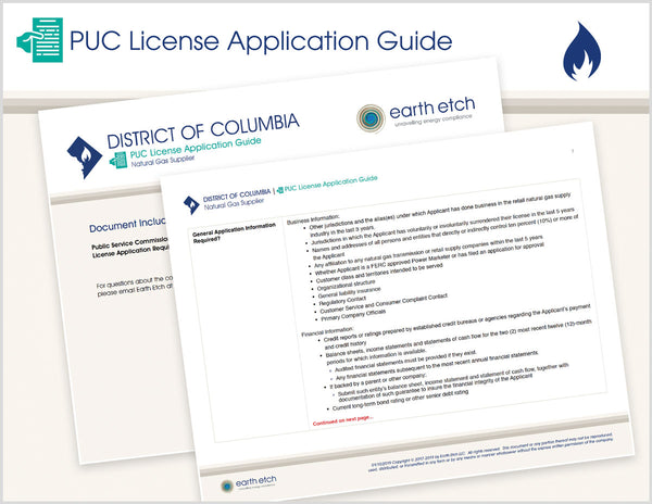 District of Columbia PUC License Application Guide (Gas)