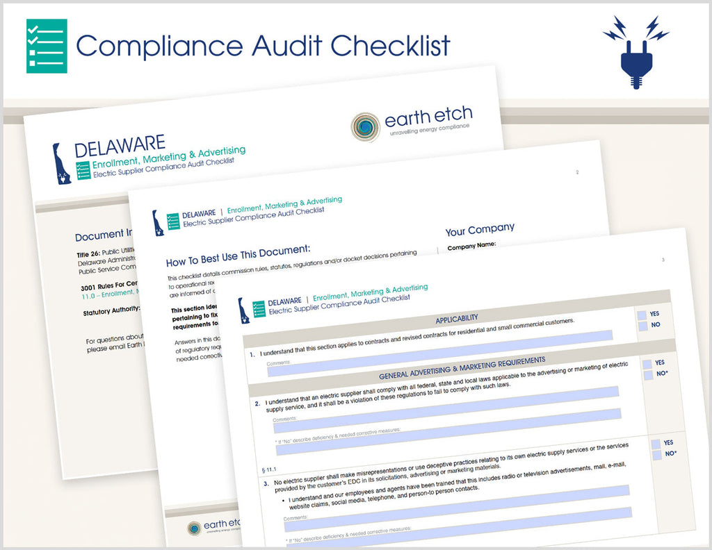 Delaware Enrollment, Marketing & Advertising - § 11.0 – Compliance Audit Checklist (Electric)