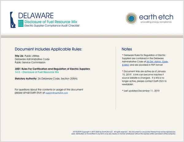 Delaware Disclosure of Fuel Resource Mix - § 14.0 – Compliance Audit Checklist (Electric)