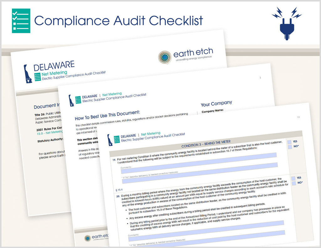 Delaware Net Metering - § 15.0 – Compliance Audit Checklist (Electric)